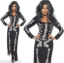 Skeleton Tube Dress Halloween Fancy Dress Costume Ladies Womens Size 8 - 22 Medium