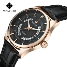 Men's Luxury Quartz Watch Genuine Leather Strap With Showing Date - Gold Black