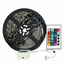 Waterproof RGB 5M 300Leds 5050 SMD LED Strip Light Black PCB + 24Key IR Remote