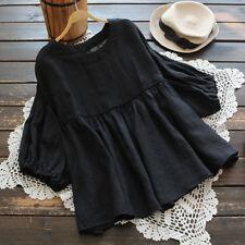 S-5XL ZANZEA Women Lantern Sleeve Shirt Tops Round Neck Casual Plain Blouse Plus