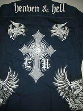 Ecko Unlimited Heaven & Hell Button Up Shirt Sz XL Cross Crucifix Angel Wings