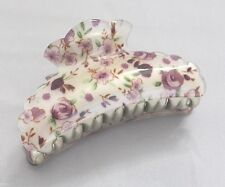 Brand New Summer Clean Looking Blossom White Hair Clip Claw w/Purple Flowers