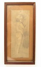 "Vtg pencil drawing artist signed nude child charcoal sketch framed 12 X 6"" small"