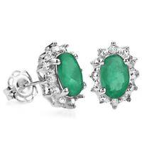 Ohrringe/Ohrstecker Joline, 925er Silber, 0,94 Kt. echter Smaragd/Diamant