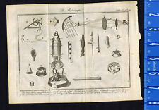 The Microscope - Physics - Optics - Lens - 1763 Pluche Copper-Plate Engraving