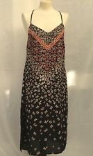 Ladies Black Floral Summer Holiday Strap Sleeveless Loose Dress Size 12