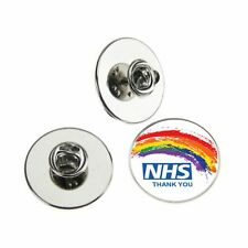 NHS THANK YOU RAINBOW SPLATTER METAL PIN BADGE WITH 25mm LOGO