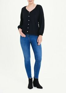 BLACK LONG SLEEVE TEXTURED BUTTON V-NECK TOP SIZE 10