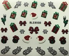 Nail Art 3D Glitter Decal Stickers Christmas Santa Hat Shooting Star BLE950D