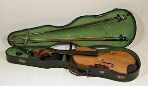 Uralte Geige / Violine mit Geigenkoffer  + 2 Bögen