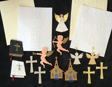17 items Lot embossed Cross religious Confirmation First Communion Baptism angel