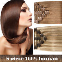US 7&8 pieces Clip In Remy Human Hair Extensions Full Head 15 clips on hair gift