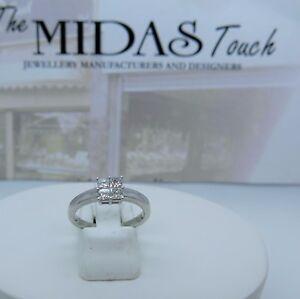 18 carat  white princess cut diamonds cluster ring ,