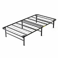 intelliBASE Lightweight Easy Set Up Bi-Fold Platform Metal Bed Frame, Twin