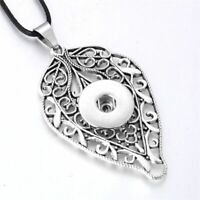 Snap Jewelry Button Fit 18mm Pendant Necklace Tree Leaf Charm Ginger Metal Style
