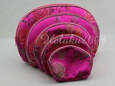 5PCS Silk Brocade Change Purse Bag Jewelry Pouch Fuchsia
