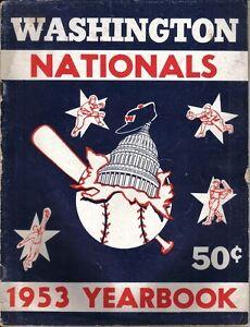 1953 Washington Nationals Senators Yearbook Baseball Magazine,Mickey Vernon FAIR