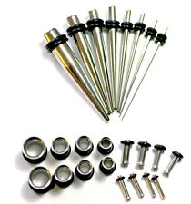 Surgical Stainless Steel Ear Stretching Kit Tapers PLUGS 0g-14g tunnels gauge