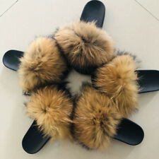 Real Raccoon Fur Slippers Women Fashion Slides Spring Autumn Indoor Flat 66020