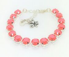 Coral Crystal Silver Bracelet Statement Tennis Women Birthday Gift Boxed