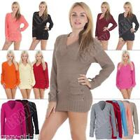 New Womens 14 Button V Neck Sexy Knitted Jumper Casual Dress Size UK S M L XL 10