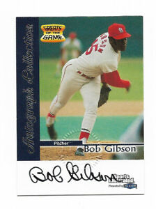 BOB GIBSON SIGNED CERT AUTO BASEBALL CARD HOF 1999 FLEER SI ST. LOUIS CARDINALS