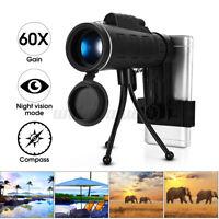 Monokular 40X60 HD Zoom Kamera Teleskop Fernrohr Linse + Clip + Stativ Für