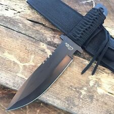 "11.5"" MILITARY Night Hunter Black Hunting Knife Para-cord Wrapped Handle 210847"