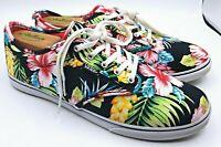 Vans Sneakers Shoes Hawaiian Tropical Black Floral Print Women Size 9.5 Lace Up