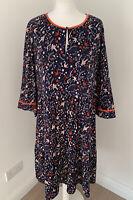Womens Boden Claire Jersey Dress Navy Woodland Bird Key Print Pockets UK18R US14