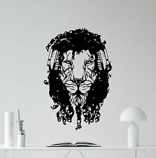 Lion Headphones Wall Decal Dread Music Decor Nursery Vinyl Sticker Poster 351xxx