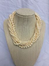 Beautiful vtg Carolee Gold Tone Faux Pearl 10 Strands Torsade necklace