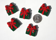 Christmas Gifts Red Green Resin Flatbacks bows embellishment scrapbooking glue