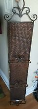 "Vintage RARE Wicker/Iron Three Plate Vertical Wall Hanger Display Rack 48""!!"
