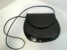 Vintage Black Patent 80s 90s Purse Shoulder Bag Structured Flap Evening Sexy