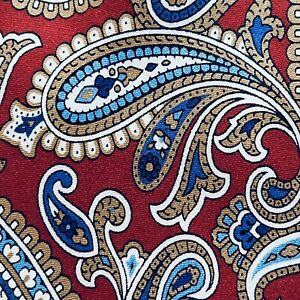 DANIEL CREMIEUX Red Blue White PAISLEY Silk EXTRA LONG Tie Italy NWT