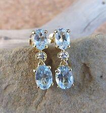 New Natural 3.37ct Oval Ice Blue Topaz Diamond Dangle Earrings 18k ygp Gold #696