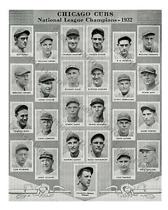 1932 CHICAGO CUBS NLCS CHAMPIONS WORLD SERIES 8X10 TEAM PHOTO