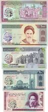 Persian text overprints on genuine notes 100 - 2000 rials (P136,137,140,141,143)