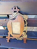 Ancien cadre portrait-médaillon fait main en bois- noyer-art populaire-1900