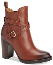 $375 size 7 Coach Jackson Dark Saddle Leather Heel Ankle Bootie Womens Shoes NEW