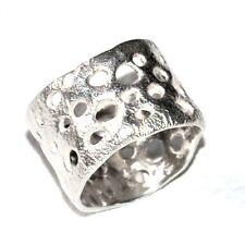 Bague originale création argent massif 925 anneau large mat T 52 bijou ring
