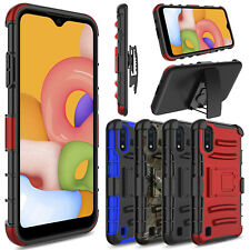 For Samsung Galaxy A01 Phone Case Shockproof With Stand Belt Clip Hybrid Cover