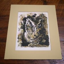 Vintage Paul Ravelle Owl Limited Edition Etching Block Print Signed Numbered