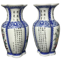 Pair Fine Porcelain Floral Birds Chinese Characters Hanzi Qianlong Style Vases