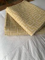 SET OF 2 Pottery Barn Greek Key Drapes 50 X 84 Curtain Panels Gold & Cream
