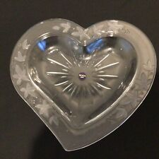 Soga Heart Shaped with Floral Decoration Clear Glass Platter. Made in Japan #403