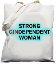 Strong Gindependent Woman - Natural (Cream) Cotton Shoulder Bag / Tote Gin Gift