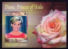 British Virgin Islands 2007 MNH SS, Diana, Royal Family, Rose, Flowers -Di8