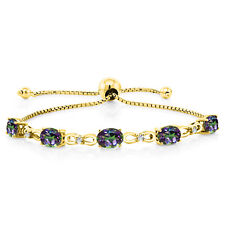 4.00 Ct Oval Green Mystic Topaz 18K Yellow Gold Plated Silver Diamond Bracelet